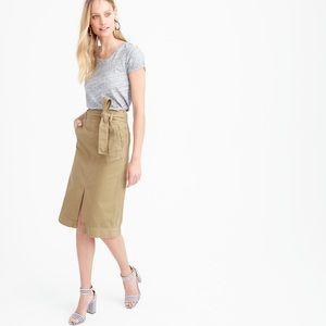 J. Crew Tie-waist midi skirt in chino